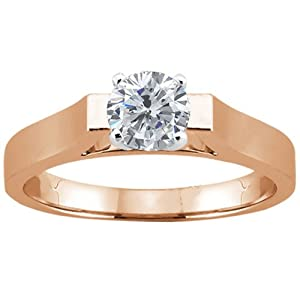 0.60 Ct Round H/I I1 Diamond Rose Gold Plated Sterling Silver Solitaire Ring