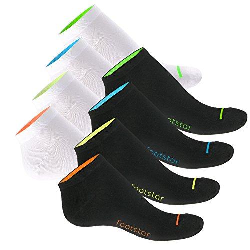 8paia di calzini Sneaker Neon Glow per lei e per lui-comodo grazie elastan e Pique-Comfort cintura-qualità celodoro Schwarz-Weiss mit Neon 43-46