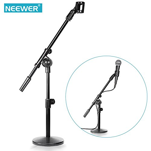 Neewer® 2 Pack NW-210 Sturdy Mini Microphone Stands with Heavy-duty Metal Base, Telescoping Boom and Mic Clip, Adjustable Height 12