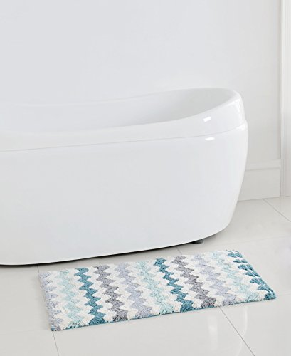 Corso chevron zig zag bath rug mat aqua gray white 20 x for Zig zag bathroom decor