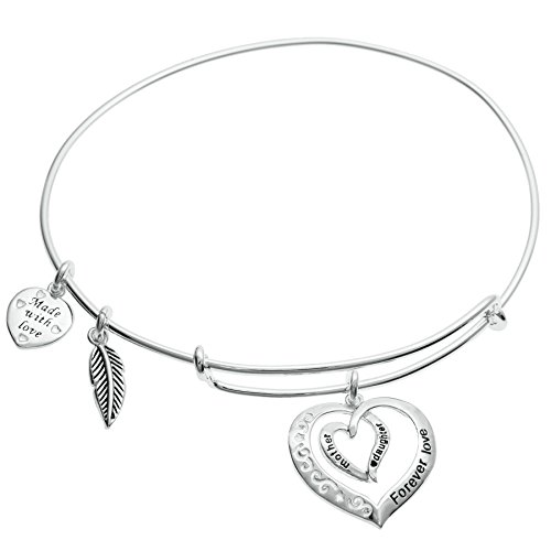 Sterling Silver Mother Daughter Forever Love Heart Leaf Dangle Charm Adjustable Wire Bangle Bracelet (Italian Charm Bracelet Mom compare prices)