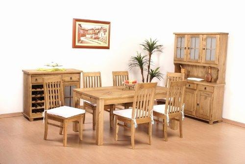 Tisch 170x73 + 6x Stuhl Klassik Pinie massiv Esszimmer Essgruppe
