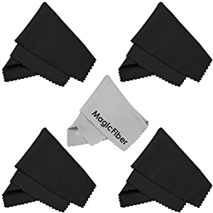 (5 Pack) MagicFiber Microfiber Cleaning Cloths for LCD screen, Camera Lens, Glasses and other delicate surfaces (4 Black, 1 Grey) Removes fingerprints and oil with just a swipe!