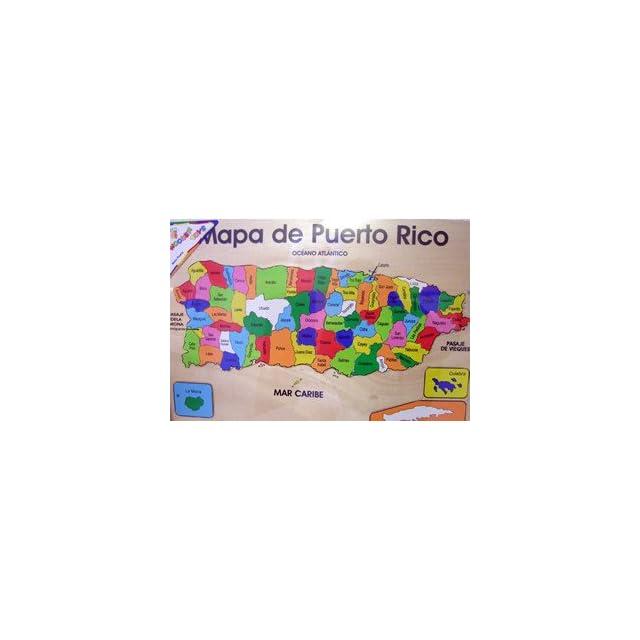 Mapa De Puerto Rico Rompecabeza En Madera