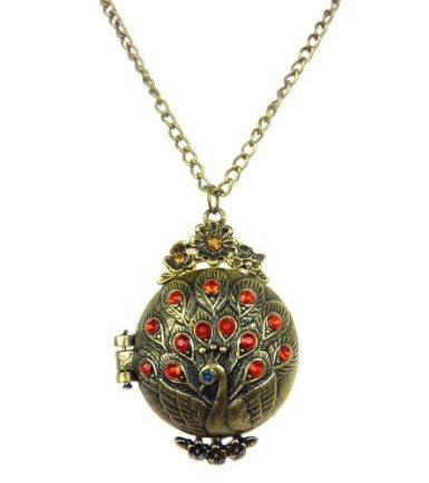 Antiqued Bronze Peacock Locket Crystal Rhinestone Pendant Necklace Women's Fashion Jewelry