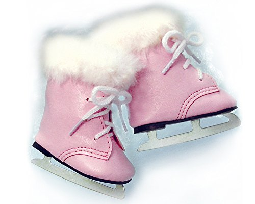 18 Inch Doll Pink Ice Skates, Fits 18 Inch Dolls Like American Girl - 1
