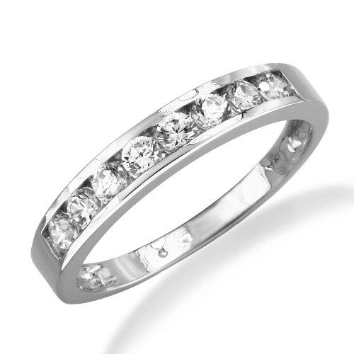 14K White Gold Channel Set Round Cz Cubic Zirconia Bridal Wedding Anniversary Ring Band 0.50Ct