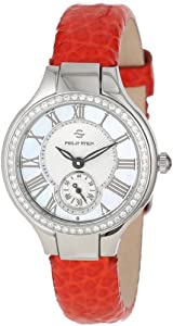 Philip Stein Women's 44D-CMOP-CGRR Round Diamond Mother-Of-Pearl Red Grainy Calf Strap Watch
