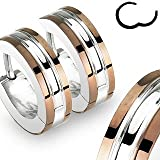 "316L Stainless Steel Two Tone ""Hinged Snap"" Huggie Earrings with Coffe IP Edges - 14mm Length, 4mm Width - Sold as a Pair"