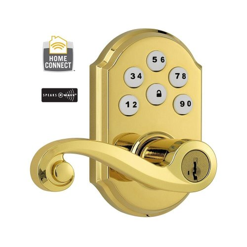 (912Ll Trl Zw L03 Smt Cp) 912 Z-Wave Single Cylinder Lifetime Polished Brass Smartcode Electronic Deadbolt With Lido Lever Featuring Smartkey