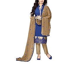 Wonder Villa Women's Cotton Semi-Stitched Dress Material - ELIZA 5009_Blue