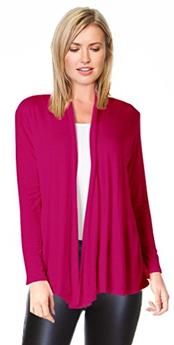 Fuchsia Womens Cardigan Sweater Open Front, Fuchsia, Medium
