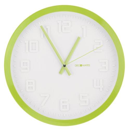 DecoMates Non-Ticking Silent Wall Clock - Color Rim (Lime Green)