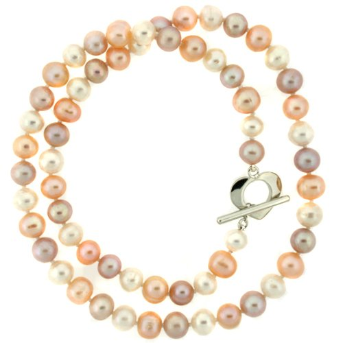 Pearl Freshwater Cultured Pink Tones Necklace Strand 7.5-8mm 18″ Heart Clasp Bucasi