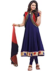 VH Fashion Dark Blue Resham Work Faux Georgette Rakul Preet Singh Anarkali Suit With Koti
