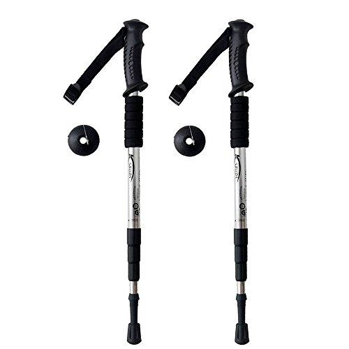 Trekking Pole Adjustable Hiking Walking Stick Anti-Shock Hiking Pole(Sliver,2 Pcs)