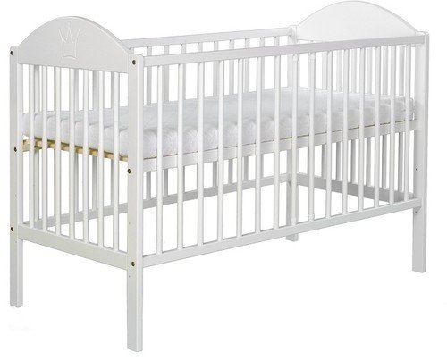 LOVELY COT WOODEN NURSERY BABY WHITE BED EVE WITH MATTRESS 120x60cm