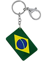 Magideal Acrylic Brazil National Flag Keychain Charm Key Ring Bag Keyring Party Accs
