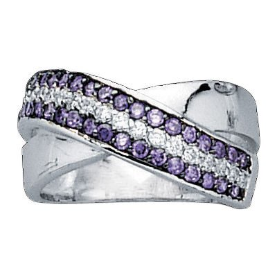 Sterling Silver Violet & White Cubic Zirconia 10 mm Cluster Band Ring - Size K