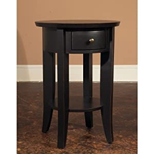 Tall round side table black kitchen dining for Tall black end table