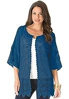 Roamans Women's Plus Size Scalloped Border Crochet Cardigan
