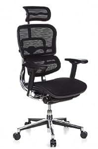 HJH OFFICE 652110 Bürostuhl / Chefsessel Ergohuman Netzstoff, schwarz