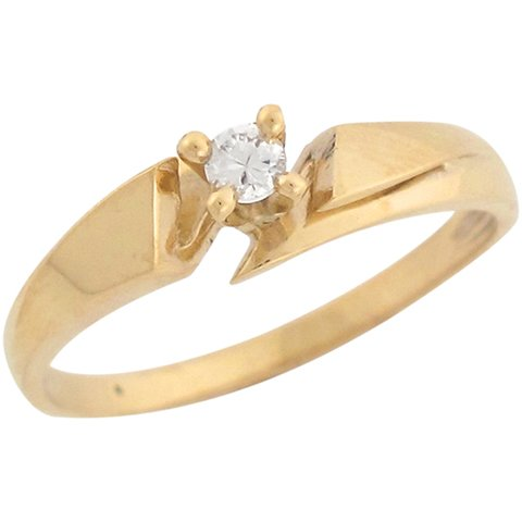 14ct Yellow Gold White Round CZ Solitaire Wrap Elegant Promise Ring