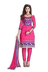 Jinal Fashion women's Chanderi Silk Dress Materia (Pink_color)