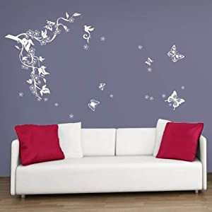 WALPLUS(TM) Wall Stickers Kitchen Home Homeware Furniture Wall Decor White Butterflies Flowers Vine Wall Stickers Home Mural Living Room Paper Art Decoration from WALPLUS(TM)