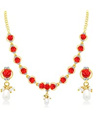 Sukkhi Fine Flower Gold Plated AD Necklace Set For Women