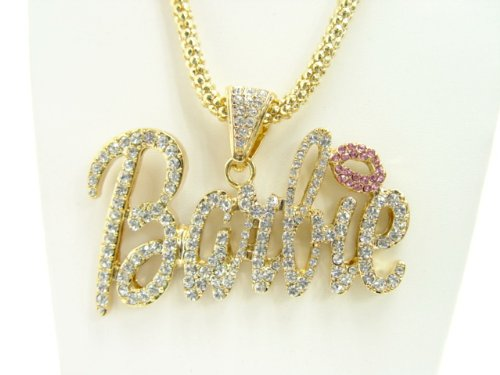 Nicki Minaj Barbie Necklace Large Gold with Clear Stone
