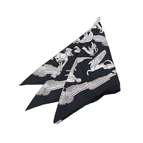 HERMES(エルメス) スカーフ カレ シルク 100% 大判 黒X白 馬 王冠