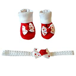 Red Polka Dots Booties and Headband (Small Preemie 3-6 Pounds)