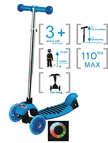 Voyage Kick Scooter for Kids, Tricycle Design,LED lights Up,3 Wheeled Toddler Scooter, Adjustable Height T-bar Handle for Preschool Children (Blue for Boy or Girl )