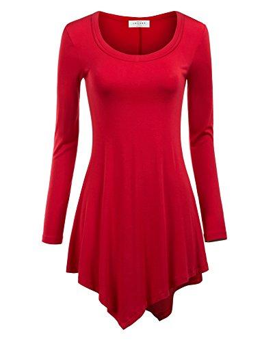 MBJ Womens Long Sleeve Handkerchief Tunic Top S RED