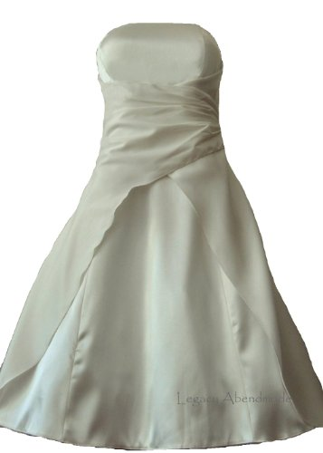 M2030, Satin Damen Abendkleid Ballkleid Cocktailkleid kurz creme