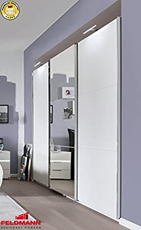 set on by Musterring Schwebeturenschrank Kleiderschrank 680224 weiß / Spiegel 300cm