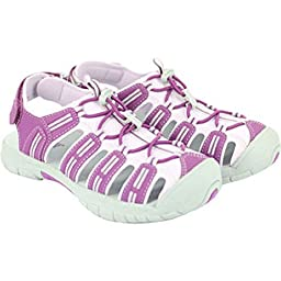 Khombu Girls Althetic Closed Toe Sandals, Purple/Pink/Grey,3