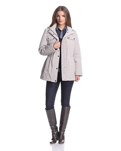 London Fog Women's Coat with Scarf  [Oyster]