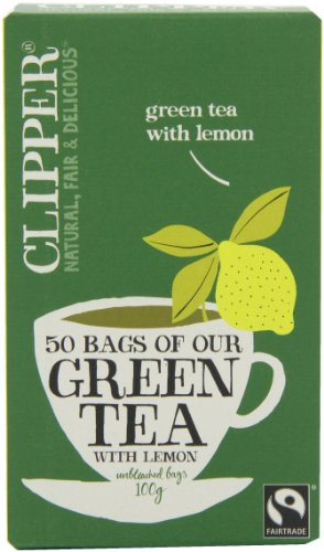 Clipper Fairtrade Green with Lemon 50 Teabags 100 g (Pack of 6)