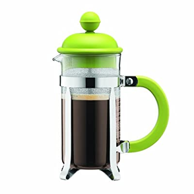 BODUM 0.35 Litre 12 oz 3-Cup Stainless Steel Frame Caffettiera Coffee Maker, Lime by BODUM