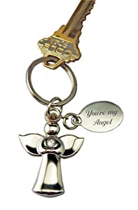 Personalized Guardian Angel Keychain Engraved Free