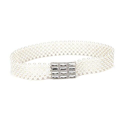TopTie Wide Faux Pearls Waist Belt, Rectangular Crystal Buckle SILVER-XS