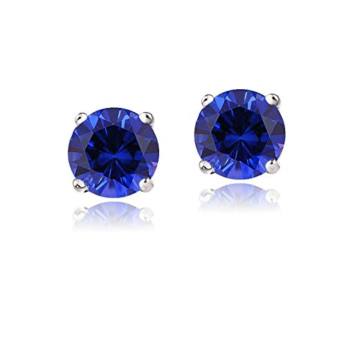 14K-Gold-21ct-TGW-Created-Blue-Sapphire-Stud-Earrings