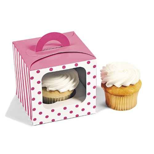 Fun Express Candy Pink Polka Dot Cupcake Boxes