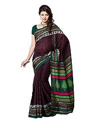 Diva Fashion-Surat Art Silk Printed Brown Saree-DFS448A