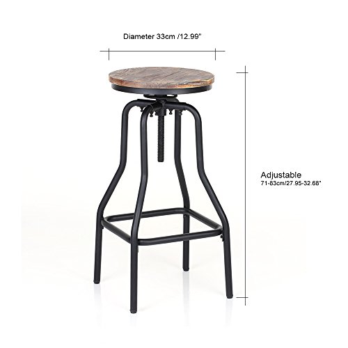 IKAYAA Adjustable Height Swivel Bar Stool Chair Kitchen Dining Breakfast Chair Natural Pinewood Industrial Style 2