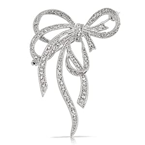 Bling Jewelry Pave Cubic Zirconia Silver Tone Fancy Knot Bow Ribbon Brooch Pin