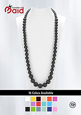 Consider It Maid Silicone Teething Necklace for Mom to Wear - FREE E-BOOK - BPA FREE and FDA Approved - Limited