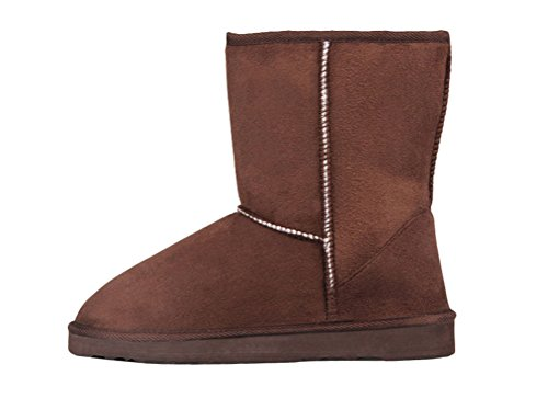 [T&Mates Womens Classic Fully Faux Fur Lined Mid Calf Faux Suede Pull-on Flat Snow Boots (7.5] (Traditional Russian Outfits)